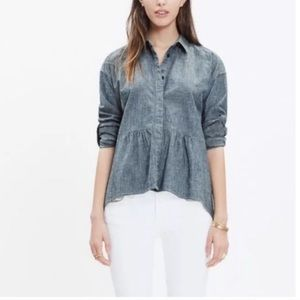 Madewell Rivet & Thread Chambray Peplum Shirt